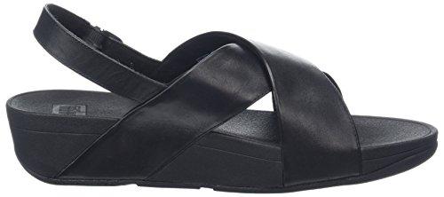 Back Strap con Sandalia Cross Black Leather para Sandal Mujer 001 FITFLOP Pulsera Lulu Negro wRSnE