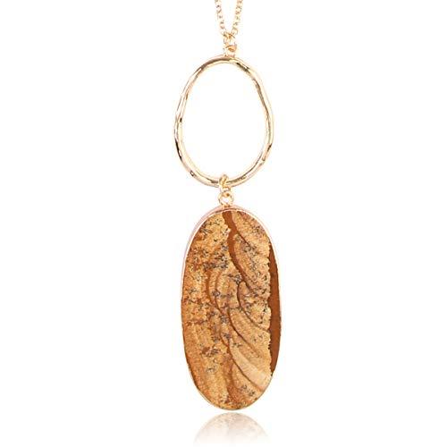 RIAH FASHION Bohemian Natural Stone Pendant Long Necklace - Boho Charm Layering Statement Chain Teardrop/Oval/Raw Stone Druzy/Marble (Ellipse - Natural)
