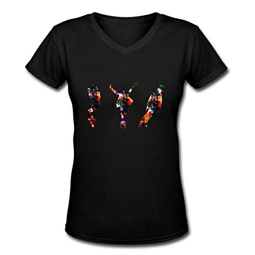 Women's Music Mic-hael- Jack-Son M-J Art Printing Soft Sweatshirt Casual Loose Blouse Tops & Short Sleeve T Shirts Black ()