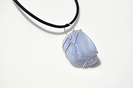Blue Agate Pendant Silver Pendant Wire Wrapped Gemstone Pendant Handmade Agate Jewelry Navy Blue Stone Pendant Reversible Sea Waves Pendant