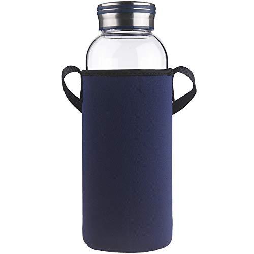 Cleesmil Trinkflasche Glas Wasserflasche mit Neoprenhülle Glasflasche 1500 ml /1.5 L