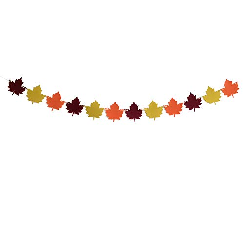 MAGQOO Felt Maple Leaves Garland Banner Fall Decor Thanksgiving Decor Thanksgiving Day Decorations Thanksgiving Party Supplies