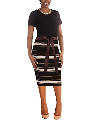 ThusFar Women' Short Sleeve Bodycon Dress -Cute Bowknot Stripes Pencil Dress X-Large Coffee Black Stripes]()