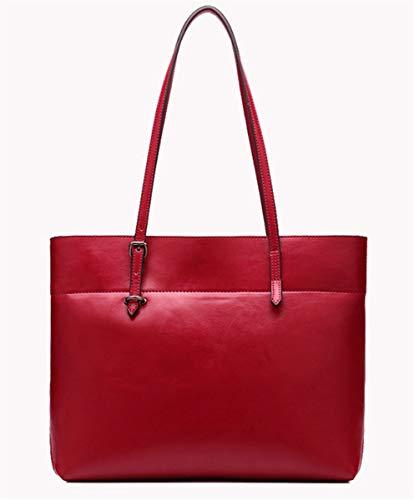 de Mujer Cuero Tone Bandolera Bolso Satchel Rojo Encerado Rojo New SHENHAI Grande Bolso de Aceite Two de Bandolera Z16H0x4