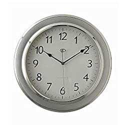 Telesonic Silver Wall Clock w/ Quiet Sweep Second Hand