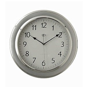Telesonic Silver Wall Clock w/Quiet Sweep Second Hand