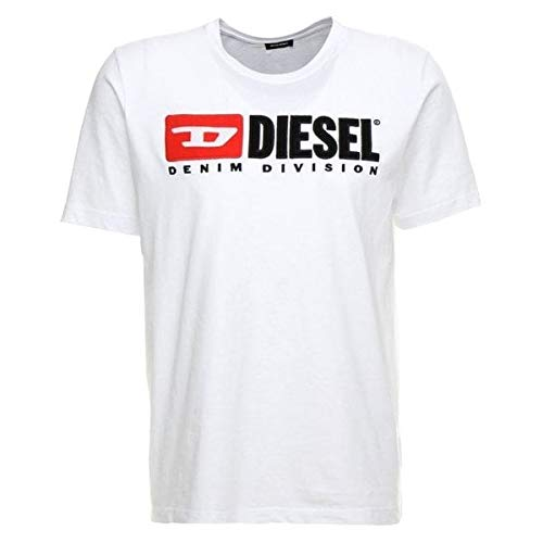 Diesel Men's T Just Division Logo T-Shirt, White, Large
