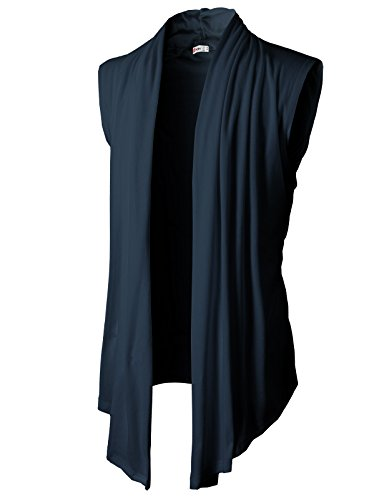- H2H Men's Shawl Collar Sleeveless Cardigan with No Button Navy US L/Asia XL (KMOCASL01)