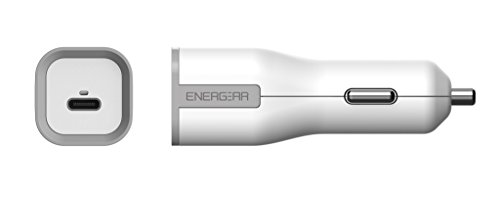 ENERGEAR USB Certified, PD2.0 Type-C Fast Car Charger 27W White, USB-C Cable for iPhone, Huawei, Asus Zen Phone and More. by EG ENERGEAR