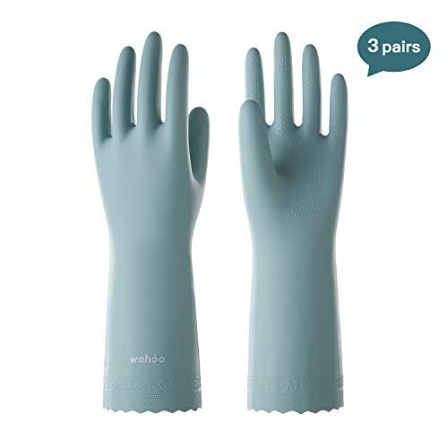 LANON Wahoo Series Reusable Household Gloves Waterproof PVC Dishwashing Gloves, Non-Slip Ultra-Thin Cleaning Gloves for Kitchen, Unlined, Intertek Listed, Medium, 3Pairs