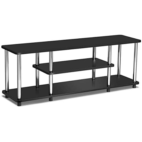 - FDInspiration Black 3-Tier TV Storage Shelf Stand Stainless Steel Console Table EPA Listed Universal Stand Rack Display with Ebook