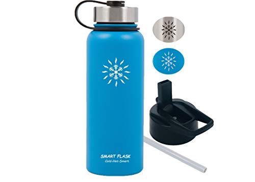 Smart Flask Stainless Steel Water Bottle, 18 Oz, Vacuum Insulated, Includes Leakproof Metal Lid, and Convenient Straw Cap. Fits in Most car Cup Holders. (Caribbean Blue)
