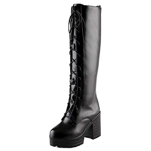 Melady Women Fashion Chunky Knee Boots Lace Up Black