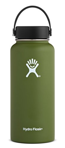 Materials Recyclable (Hydro Flask 32 oz Double Wall Vacuum Insulated Stainless Steel Leak Proof Sports Water Bottle, Wide Mouth with BPA Free Flex Cap, Olive)