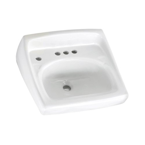 American Standard 0355.056.020 Lucerne Wall-Mount Lavatory Sink with 4-Inch Faucet Spacing and Extra Left Hand Hole, White