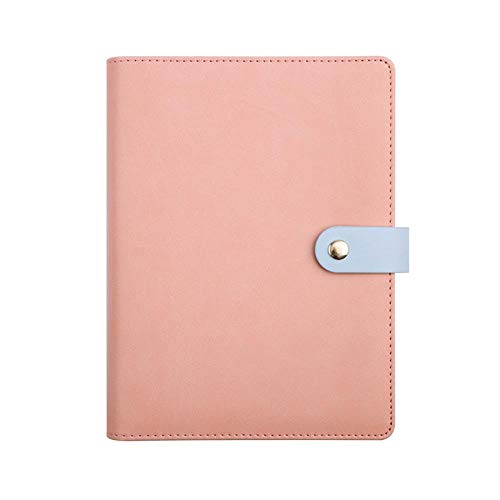 Sinngukaba Snap-on Leather Notebook, Loose-Leaf, Handbook with Pocket + Marker Ribbon (Color : Pink) by Sinngukaba (Image #1)