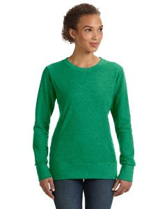 Anvil Ladies' Ringspun French Terry Mid-Scoop Sweatshirt, Heather Green, Large