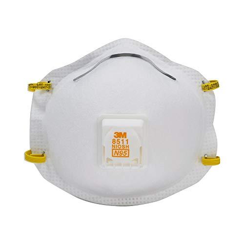 3M 8511HB2-C-PS Sanding & Fiberglass Valved Respirator, 5/Pack