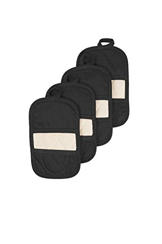 Ritz Royale Collection 100% Cotton Terry Cloth Mitz, Dual-Function Pot Holder/Oven Mitt Set, 4-Pack, Black