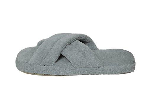Pantofole Da Casa In Fleece Di Corallo Per Donna Con Cinturini Incrociati E Suola In Tessuto Antiscivolo Grigia