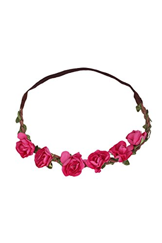 Damen P.S. Schuhmacher Trachten Blumenhaarband mit Gummizug pink, pink, unisize