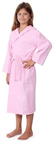 Indulge Linen Kids Waffle Bathrobe, Hooded, 100% Cotton, Diamond Pattern, Made in Turkey, Spa Party Robe for Girls (Pink, S/M) Diamond Waffle Robe