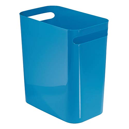 mDesign Slim Plastic Rectangular Large Trash Can Wastebasket, Garbage Container Bin, Handles for Bathroom, Kitchen, Home Office, Dorm, Kids Room - 12