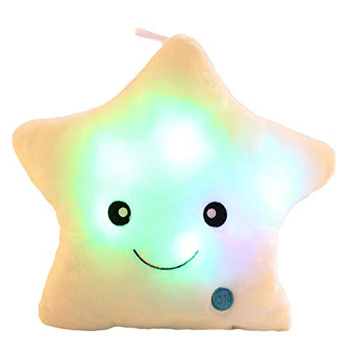 sofipal Twinkle Star Shaped Plush Throw Pillow, Creative LED Night Light Glowing Cushions Plush Stuffed Toys Gifts for Kids, Decoration (White)
