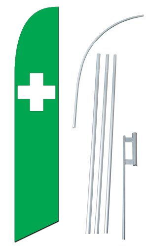 """White Cross On Green Flag"" 12-foot SUPER Swooper Feather Flag With Heavy-Duty 15-foot Pole and Ground Spike"