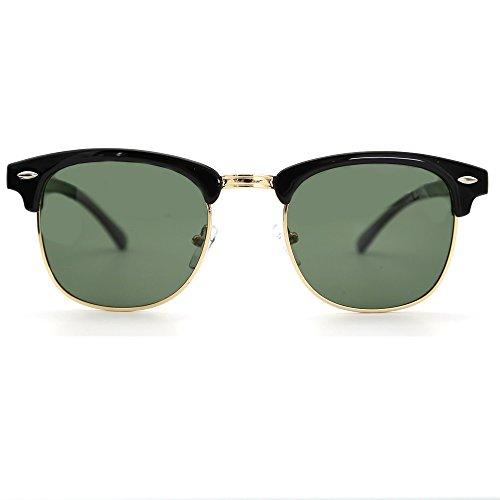 con amp; medio G15 de Mujer sol montura sol Hombre marco Gafas sin Natwve Negro montura Clásico semi retro Claro Co Gafas de y YB7dB