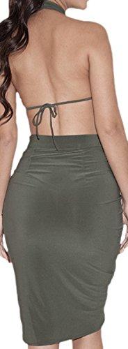 erdbeerloft - Damen elegantes Kleid mit Neckholder, knielang, Partykleid, 36-40, Grau