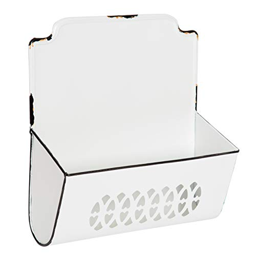 Kate and Laurel Maples Vintage Style Metal Wall Pocket Organizer Bins with Distressed White Enamel-Like Finish