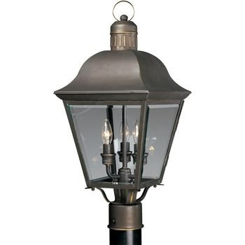 Lighting Progress Post Lights - Progress Lighting P5487-20 3-Light Andover Post Lantern, Antique Bronze