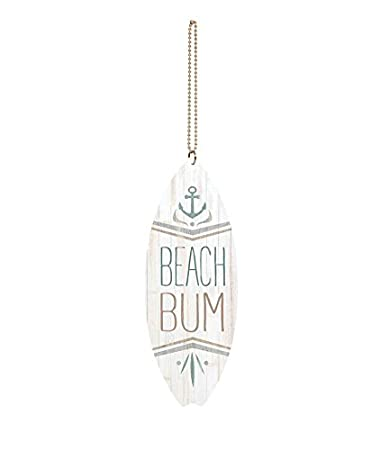 P Graham Dunn Lifes at Ease with Ocean Breeze Palm Whitewash Surfboard 1.5 x 4.5 Wood Car Charm