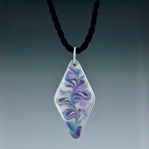Purple lavender diamond shaped ceramic pendant necklace on a black satin twist cord.
