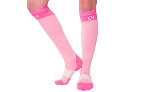 C4 Equestrian Horse Riding & Tall Boot Over the Calf Knee High Socks for Women (Pink) (Pink Riding Boots For Women)