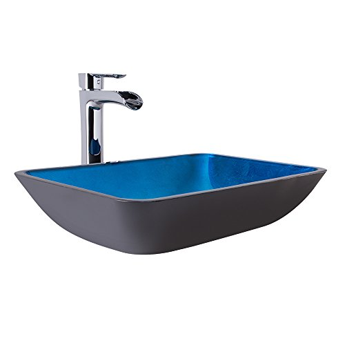 VIGO Rectangular Turquoise Water Glass Vessel Bathroom Sink and Niko Vessel Faucet with Pop Up, Chrome