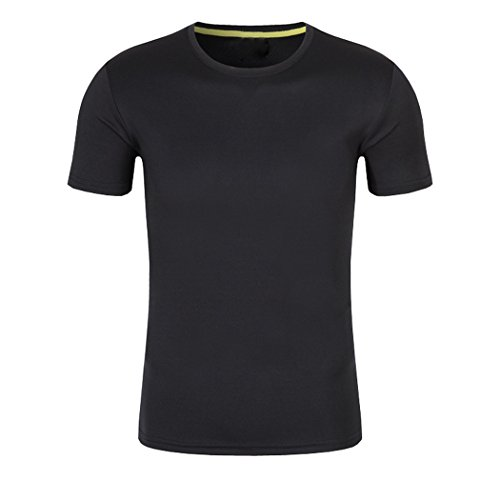 SanVera17 Men Casual Solid Color Quick-drying Jersey Cotton Short Sleeve T-Shirt Black US XL