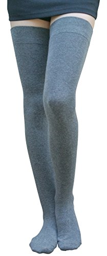 AM Landen Cotton Thigh High Socks Over Knee High Socks Leg Warmer(XLW, Dark Gray) (Thigh High Socks)