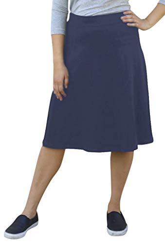 - Kosher Casual Women's Modest Knee-Length A-Line Lightweight Cotton Lycra Skirt XL Navy