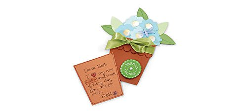 Sizzix Bigz Big Shot Pro Die, Flower Pot W/Flowers-Leaf Card and Pocket by Sizzix