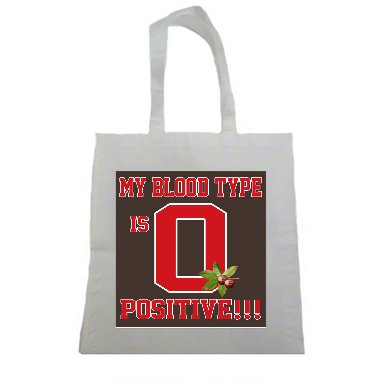 My Blood Type is O Positive Buckeyes Halloween Trick Or Treat Polyester White Tote Bag 15x16x 3.5 (Halloween Columbus Ohio)