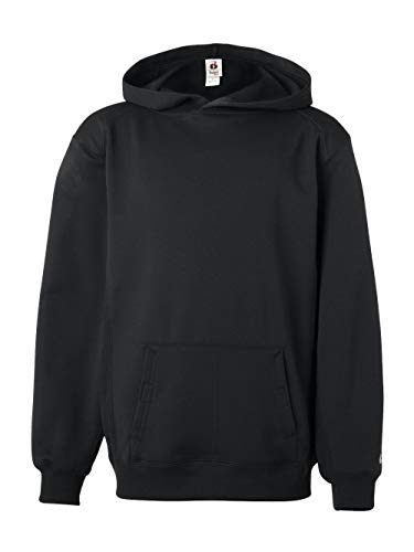 Badger Fleece Sweatshirt - Badger - BT5 Youth Performance Fleece Hooded Sweatshirt - 2454 - L - Black