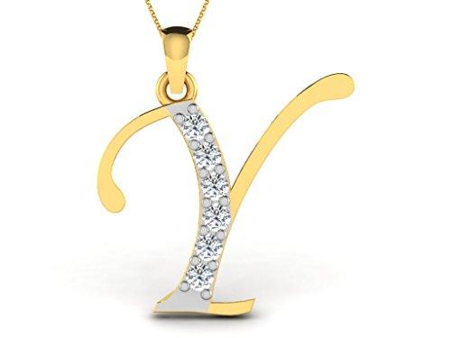 Or Jaune 14 ct Pendentifs Diamant en forme de Y alphabet, 0.13 Ct Diamant, GH-SI, 0.49 grammes.