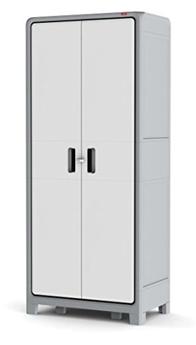 Garage Cabinet, Tall - 6 ft., Plastic, Color Gray/White