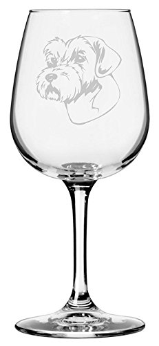 (Sporting Lucas Terrier Dog Themed Etched 12.75oz Libbey Wine Glass)