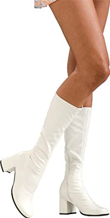 Vintage Style Shoes, Vintage Inspired Shoes Secret Wishes White Costume Go-Go Boots $28.94 AT vintagedancer.com