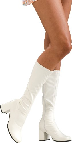 Secret Wishes Go-Go Boots, White, (White Go Go Boots)