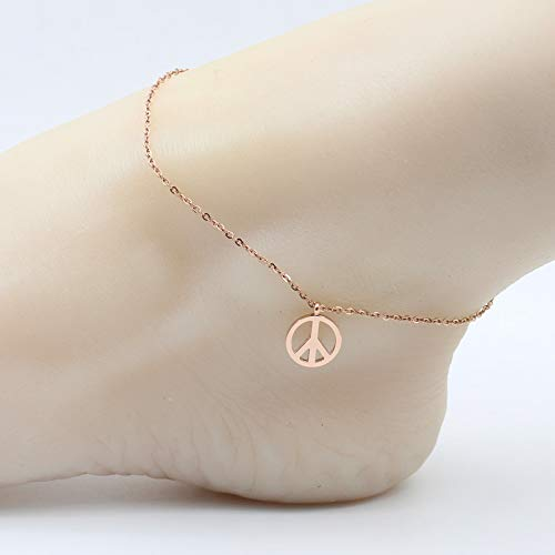 - Party Gift Steel Rose Gold Foot Chain Anklet Ankle Bracelet Jewelry Fashion Color Women Girls Temperament Ring Student (Peace Sign anklets