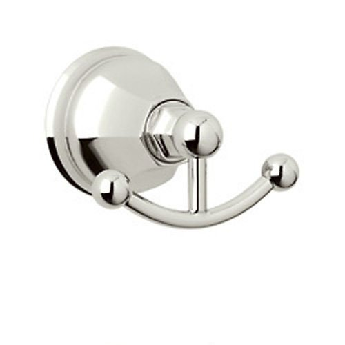 Rohl A6881PN Palladian Wall Mounted Double Robe Hook Clothes Hanger in Polished Nickel